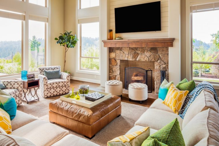 Fireplace at a living room