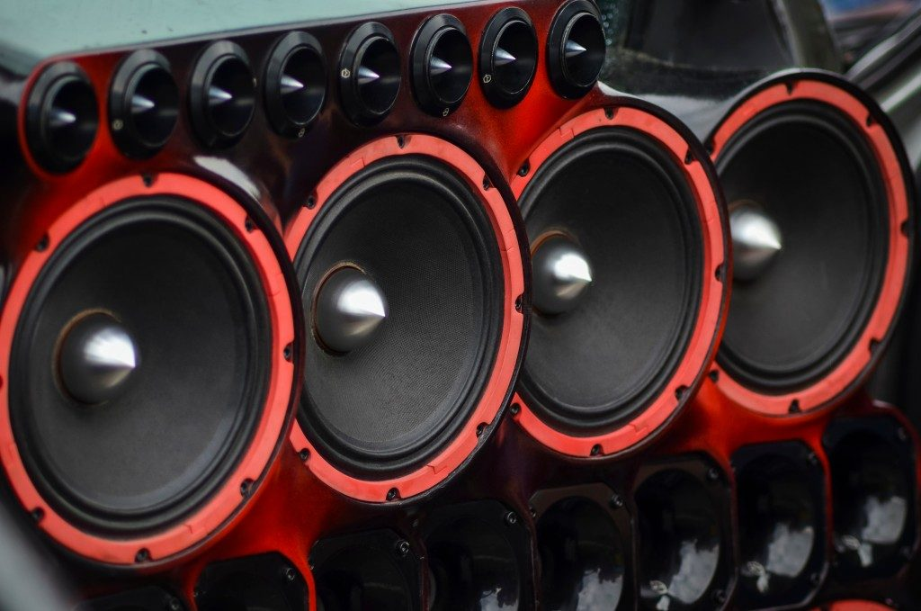red audio speakers