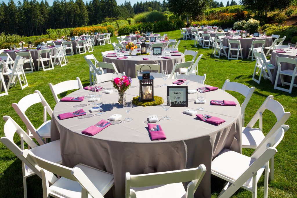 wedding reception at an outdoor venue